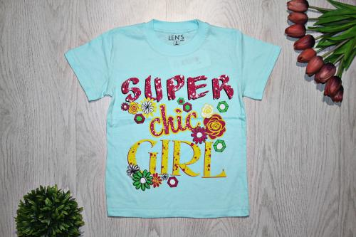 "Футболка ""Super chic girl"", голубая"