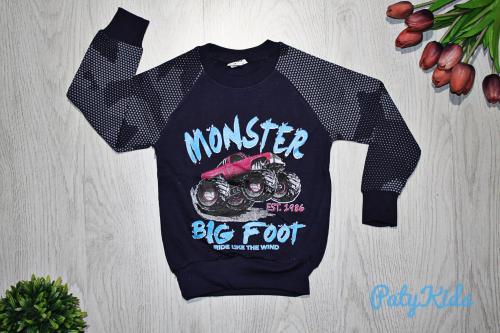 "Свитшот с тонким начёсом ""Monster big foot"" , чёрно-синий"